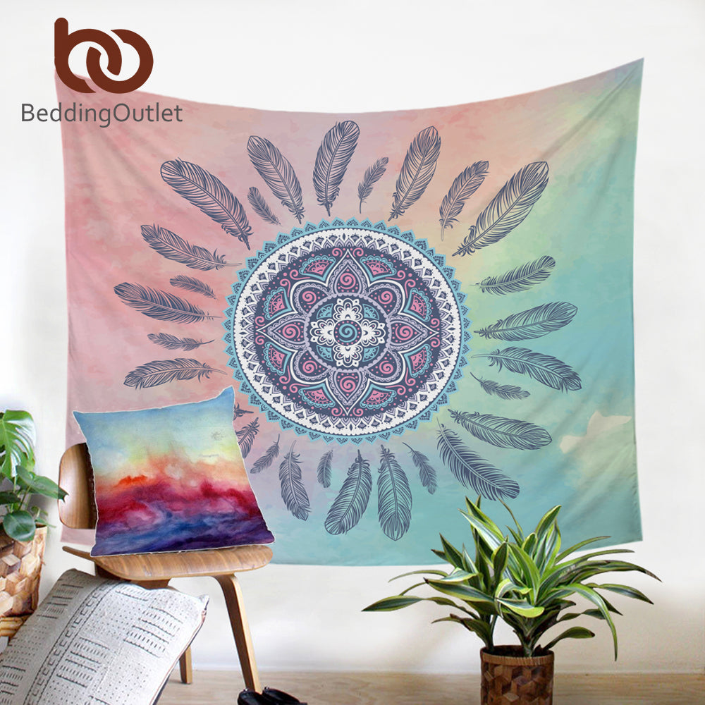 Dropshipful Dreamcatcher Tapestry Boho Printed Flat Sheet Pink and Green Wall Hanging Home Decor Microfiber Wall Tapestries - Dropshipful.com