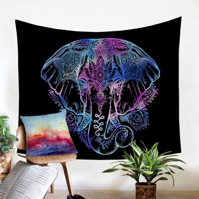 Dropshipful Elephant Tapestry Animal Printed Wall Hanging Bedclothes Indian Boho Home Decor Beach Mat Bohemian Bedspread - Dropshipful.com