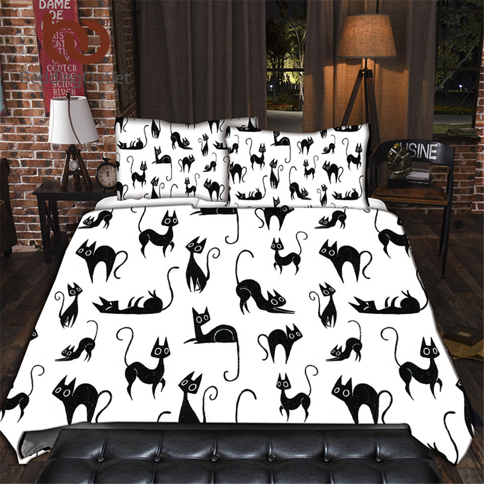 Dropshipful Cartoon Bedding Set for Kids Animal Single Bed Set Cute Cats Print Duvet Cover Black and White Home Bedclothes - Dropshipful.com