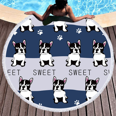 Dropship Cute Dog Round Beach Towel Cartoon Towel Microfiber 150cm - Dropshipful.com