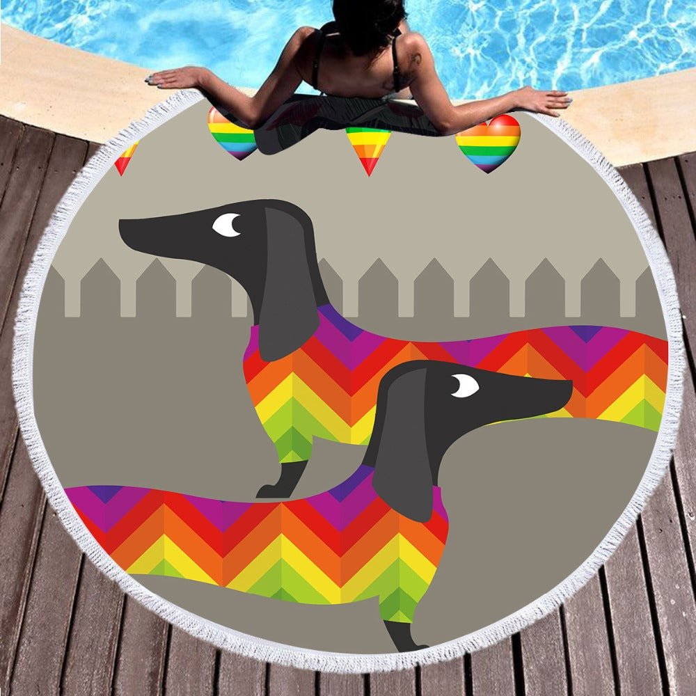 Microfiber Dog Large Round Beach Towel For Kids With Tassel Summer Blanket 150cm - Dropshipful.com