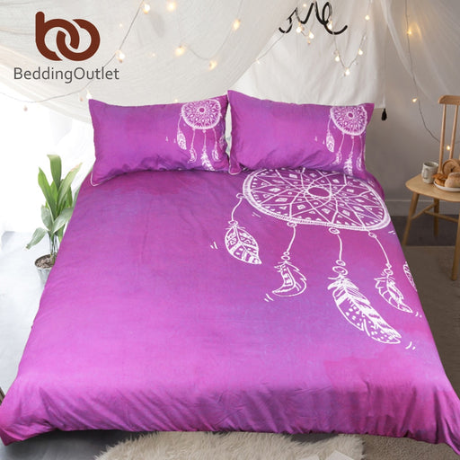 Dropshipful Watercolor Dreamcatcher Bedding Set Purple and White Double Quilt Cover With Pillowcases Girls Bedclothes 3pcs - Dropshipful.com