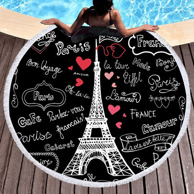 Microfiber Large Round Beach Towel Woman Toalla With Tassel Summer Towel France Tower 150cm - Dropshipful.com