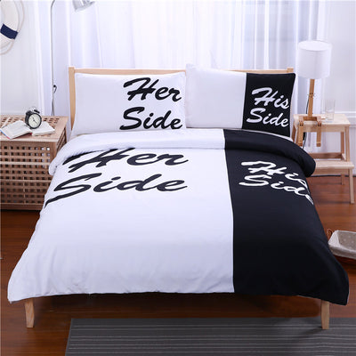 Dropship Black and White Bedding Set His Side & Her Side  Duvet Cover 3 Pcs - Dropshipful.com