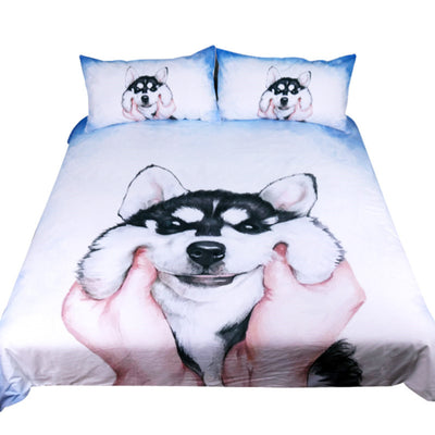 Dropshipful Husky Puppy Bedding Set Watercolor Duvet Cover With Pillowcases 3pcs - Dropshipful.com