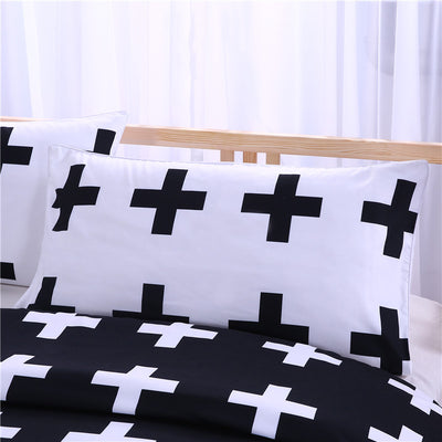 Dropshipful Black and White Crosses Bedding Set Super Soft Duvet Cover with Pillowcases 3Pcs - Dropshipful.com