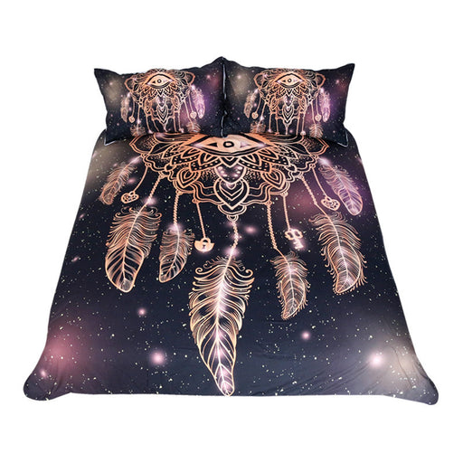 Dropshipful Eye Dreamcatcher Bedding Set  Luxury Galaxy Golden Duvet Cover Set - Dropshipful.com