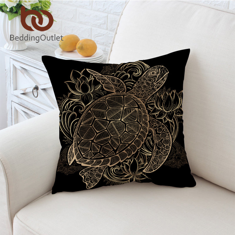 Dropshipful Turtles Cushion Cover Animal Golden Tortoise Pillow Case Flowers Lotus Throw Cover Boho Decorative Pillow Covers - Dropshipful.com