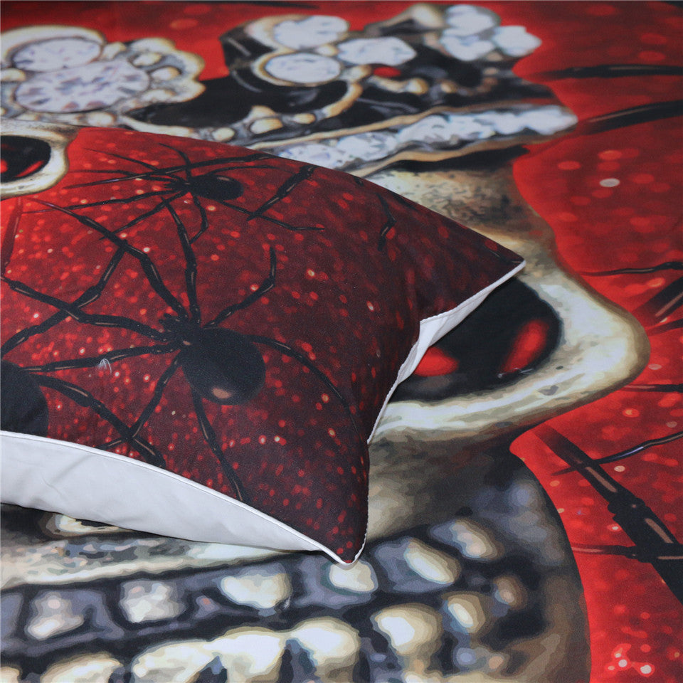 Dropship Blood Red Spider Skull Bedding Set With Queen Crown Duvet Cover Set  3-Piece - Dropshipful.com