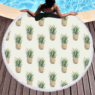 Dropship Pineapple Round Beach Towel Fruit Large Summer Microfiber Towel Kids Toalla 150cm - Dropshipful.com