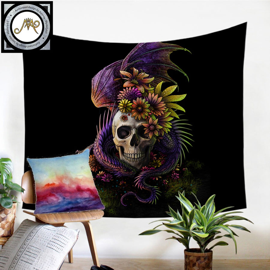 Flowery Skull by SunimaArt Tapestry Purple Flower Wall Hanging Floral Sheets Decorative Tapestry Mystery Art Beach Mat 130x150cm - Dropshipful.com