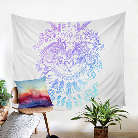 Wolves Heart by SunimaArt Tapestry Blue and Purple Wall Hanging Animal Wolf Tapestry Bohemian Beach Mat Decorative Bedspreads - Dropshipful.com
