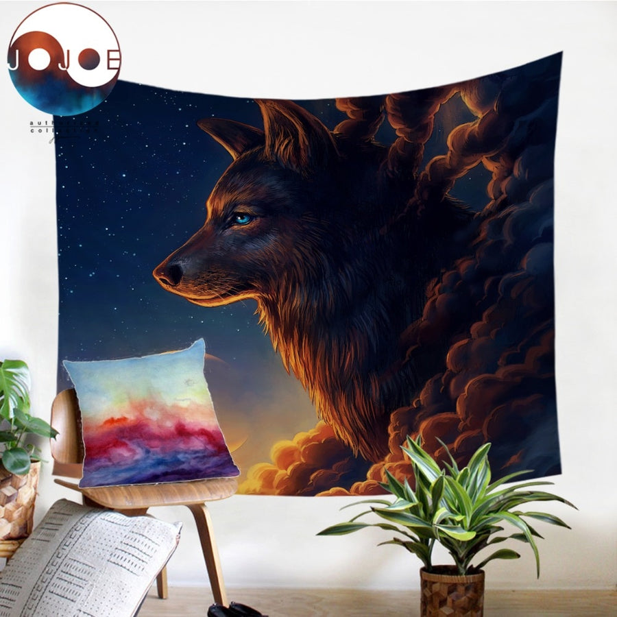 Night Guardian by JoJoesArt Tapestry Wolf And The New Moon Wall Hanging Animal Sheets Sky Bedding Tapestry Home Decor 130x150cm - Dropshipful.com