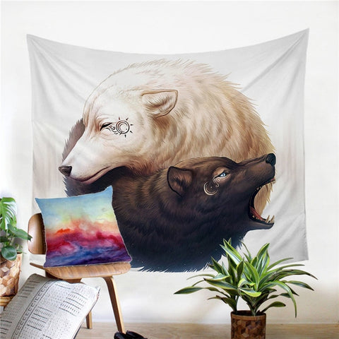Yin and Yang Wolves by JoJosArt Tapestry Black and White Wall Hanging Animal Sheets Decorative Tapestry Wall Art 130x150cm - Dropshipful.com
