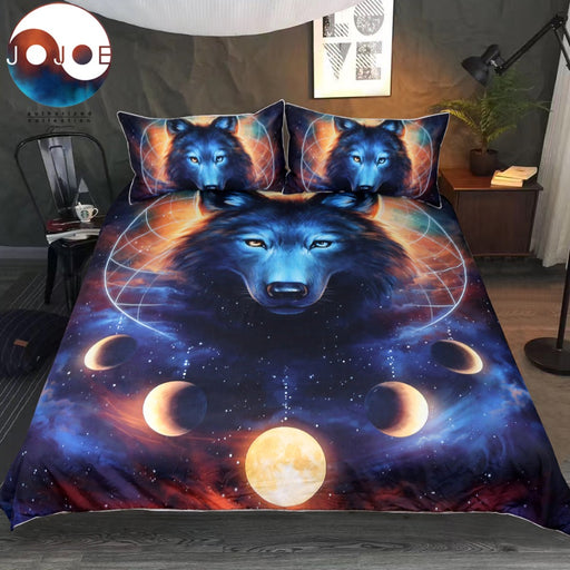 Dream Catcher by JoJoesArt Bedding Set Queen Moon Eclipse Duvet Cover Wolf Bed Set 3pcs Galaxy Print Bedclothes For Kids Adults - Dropshipful.com