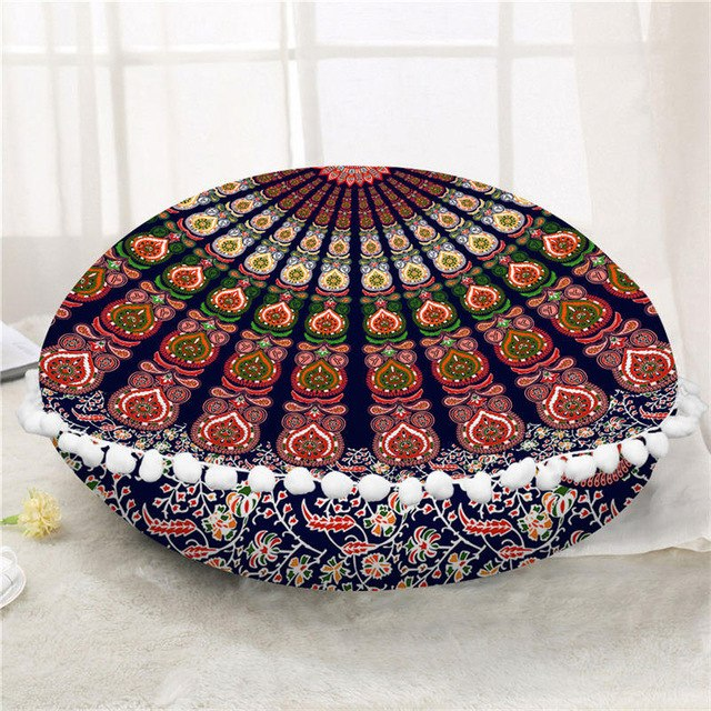 Dropshipful Round Floor Pillow Case Cover Mandala Bohemian Cushion Cover Poufs Floral Decorative Pillowcase 45cm 75cm For Sofa - Dropshipful.com