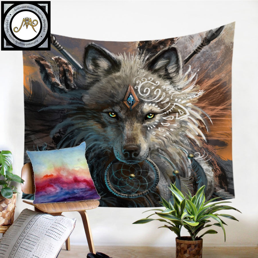Wolf Warrior by SunimaArt Tapestry Native American Wall Hanging Animal Sheets Indian Wolf Tapestry Home Decor Beach Mat Bedding - Dropshipful.com