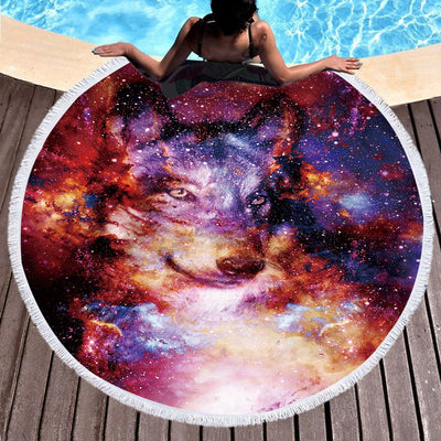 Wolf Round Beach Towel Adults With Tassel Circle Blanket 3d Print Microfiber 150cm - Dropshipful.com