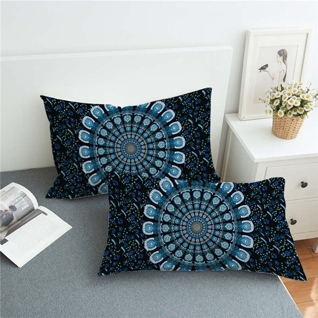 Dropshipful 1 Piece Blue Floral Mandala Pillowcase Bohemia Exotic Patterns Pillow Cover Microfiber Fabric Soft Pillow Case - Dropshipful.com