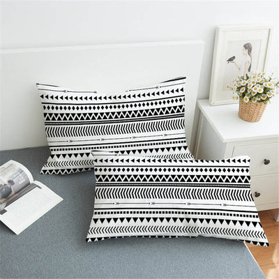 2Pcs Elegant Black White Striped Pillowcase Modern Chic Reversible Geometric Pillow Cover - Dropshipful.com