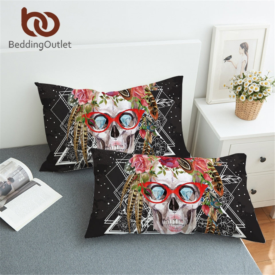 Dropshipful Cool Skull Pillow Cases Rose Printed Art Skull with Red Glasses Pillow Cover For Young Microfiber 1pc Home - Dropshipful.com