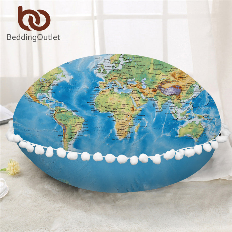 Dropshipful World Map Round Pillow Cover Vivid Printed Blue Cushion Cover on Floor Cozy Microfiber Fabric Pillow Case For Bed - Dropshipful.com