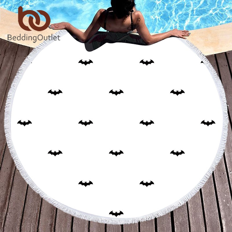 Dropshipful Bat Printed Towel Large Round Beach Towel for Adults Summer Sunblock Toalla White Tassel 150cm Microfiber Yoga Mat - Dropshipful.com