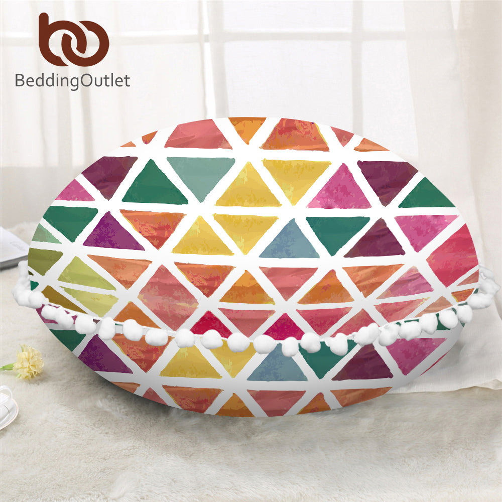Dropshipful Colorful Round Pillow Cover Geometric Printed Cushion Cover on Floor Cozy Microfiber Fabric Girls Pillow Case - Dropshipful.com