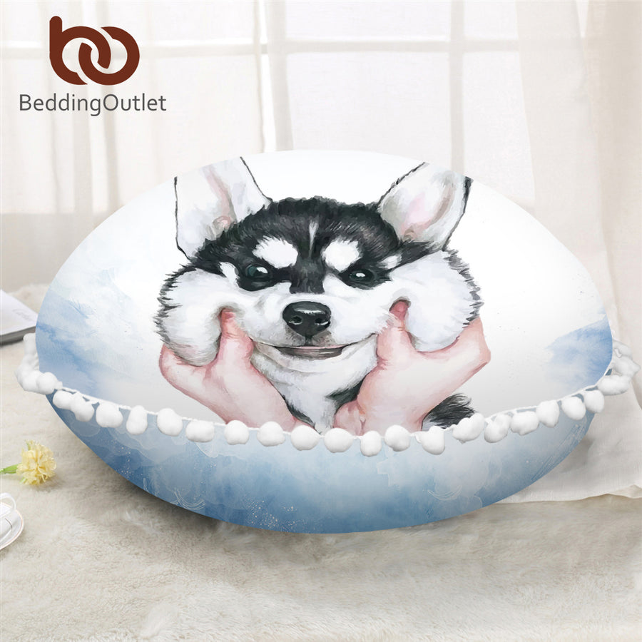 Dropshipful Husky Puppy Round Pillow Cover Animal Pet Cushion Cover on Floor Watercolor Printed for Kids Microfiber Pillowcase - Dropshipful.com