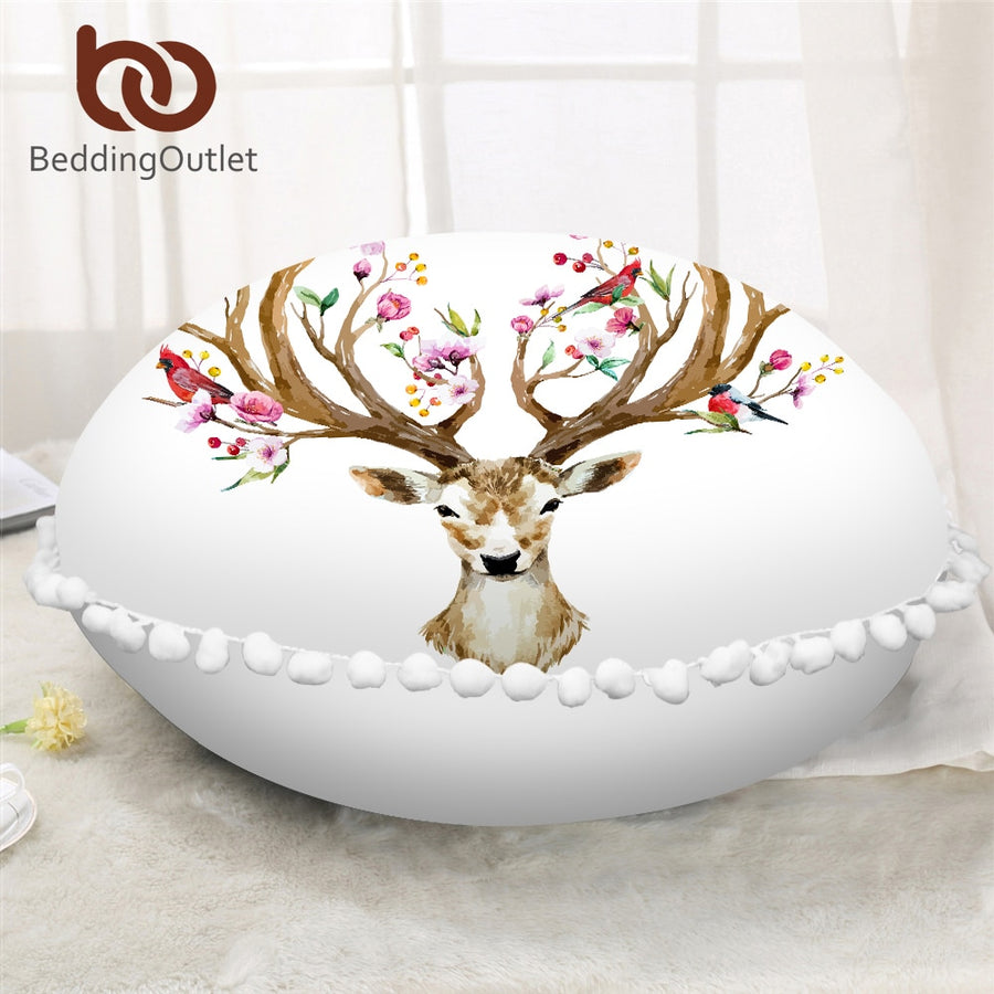 Dropshipful Elk Deer Round Pillow Cover Animal Floral Moose Cushion Cover on Floor Reindeer Printed Microfiber Pillow Case - Dropshipful.com