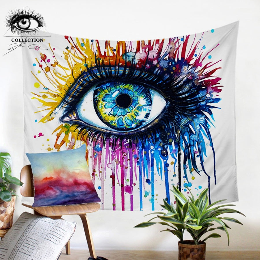 Rainbow Fire by Pixie Cold Art Tapestry Wall Hanging Colorful Printed Curtain Watercolor Eye Decorative Tapestry Bedspreads - Dropshipful.com