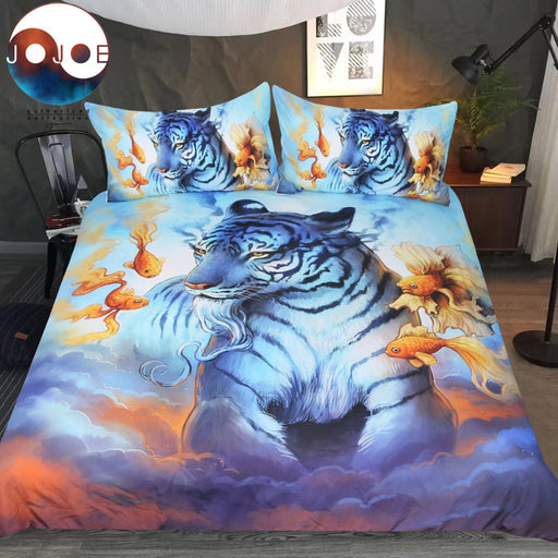 Dream by JoJoesArt Bedding Set Psychedelic Tiger Duvet Cover Goldfish In The Sky Bed Set Clouds Animal Bedclothes For Adults - Dropshipful.com