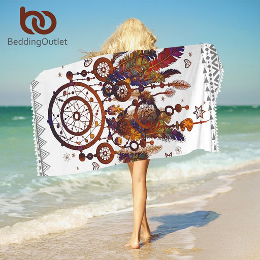 Dropshipful Hipster Dreamcatcher Bath Towel For Adults Mandala Beach Towel With Tassel Microfiber Boho Blanket 75x150cm Mat - Dropshipful.com