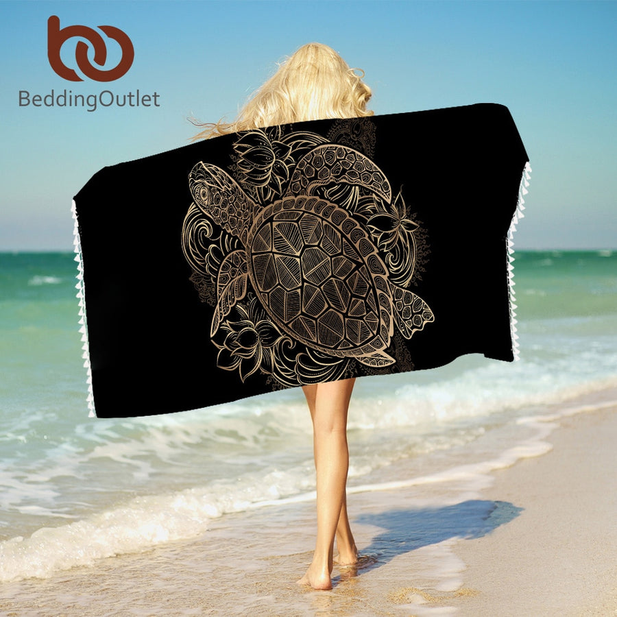 Dropshipful Turtles Beach Towel With Tassels Microfiber Animal Tortoise Beach Towel For Bathroom Lotus Floral Blanket 75x150cm - Dropshipful.com