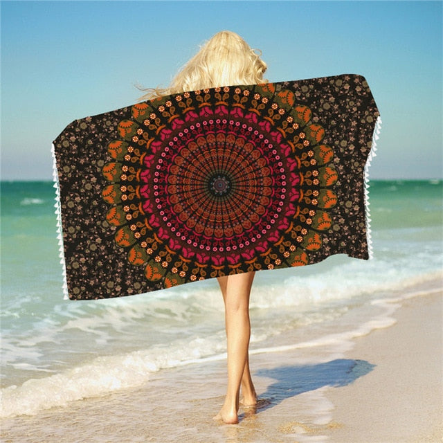 Dropshipful Mandala Bath Towel With Tassels For Bathroom Microfiber Beach Towel Adults Rectangle Bohemian Yoga Mat 75cmx150cm - Dropshipful.com