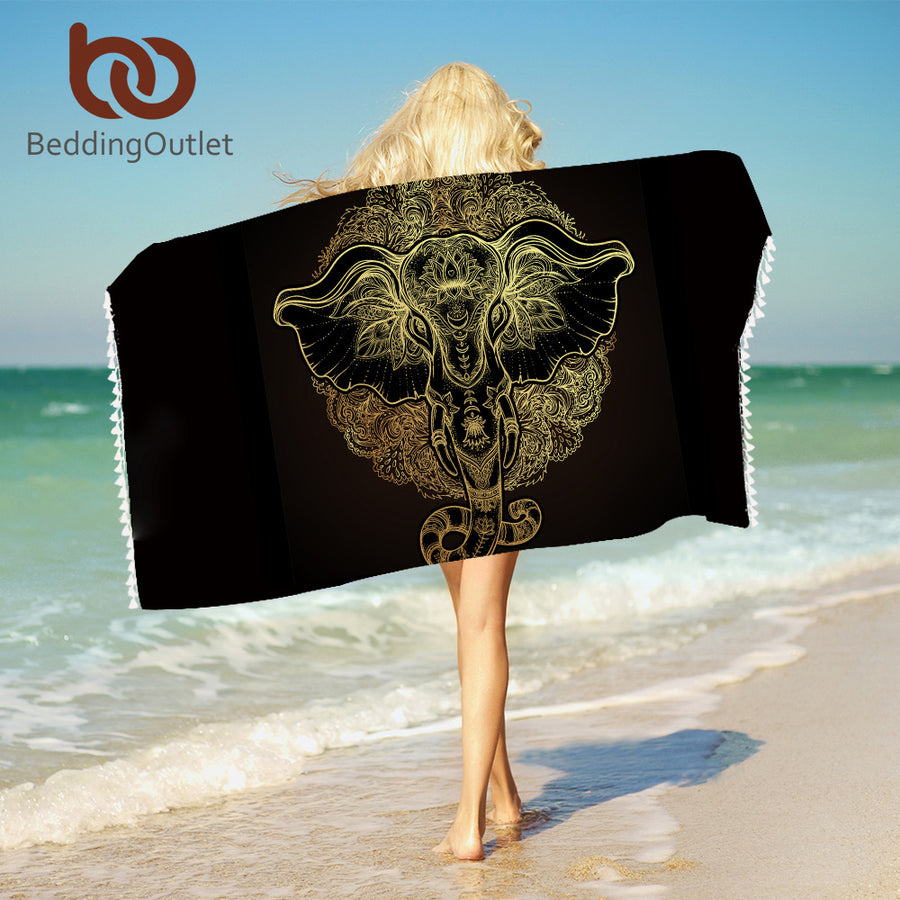 Dropshipful Tribal Elephant Beach Towel With Tassels Microfiber Ethnic Indian God Ganesha Beach Towel For Bathroom Blanket Mat - Dropshipful.com