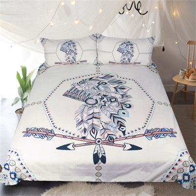 Dropshipful Indian Feathers Bedding Set  Arrow Printed Vintage Duvet Cover Set - Dropshipful.com