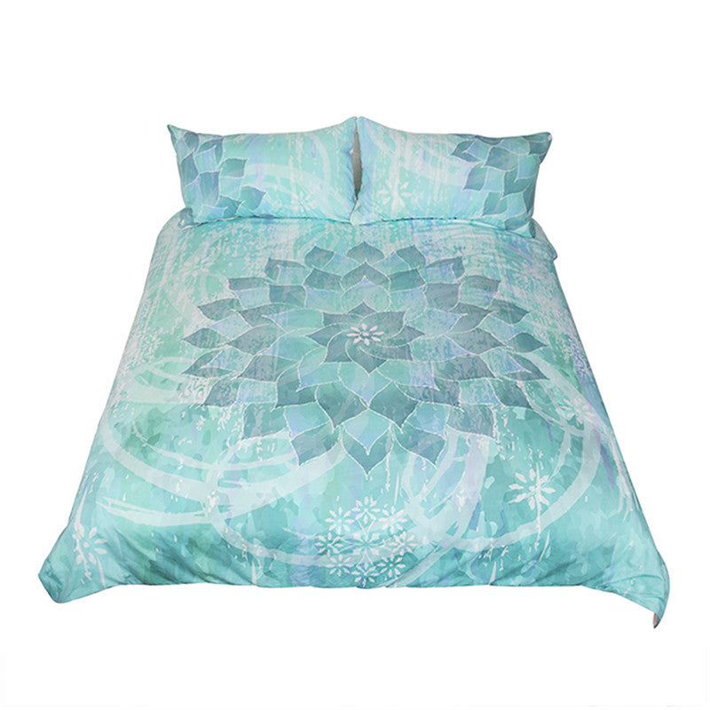 Dropshipful Floral Lotus Bedding Set  Boho Mandala Bed Set 3Pcs - Dropshipful.com