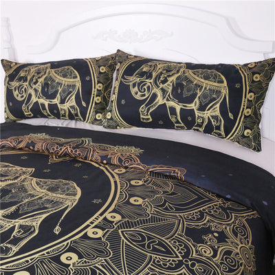 Dropshipful Mandala Elephant Duvet Cover With Pillowcase Black Golden Bedding Set 3Pcs - Dropshipful.com