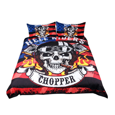Dropshipful Fire Skull Bedding Set Chopper Printed Boys Duvet Cover Set 3pcs - Dropshipful.com