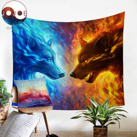 Fire and Ice by JoJoesArt Tapestry Wall Hanging Blue and Yellow Beach Mat 3D Animal Wolf Printed Sheets Decorative Tapestry - Dropshipful.com