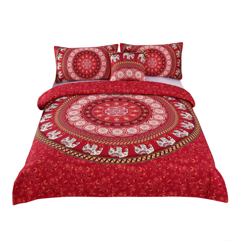 Dropshipful Red Mandala Bedding Set Elephant Indian Duvet Cover with Pillowcases 3Pcs - Dropshipful.com