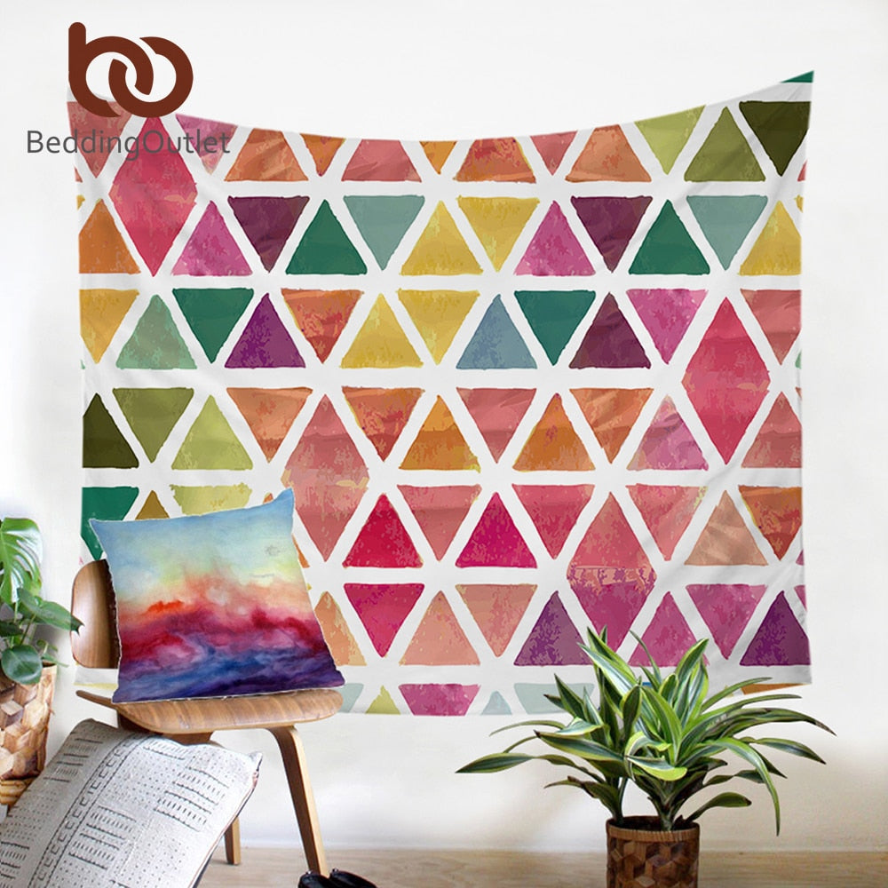 Dropshipful Colorful Geometric Tapestry Wall Hanging Decorative Wall Carpet Colored Bed Sheet Picnic Mat Bedding For Woman - Dropshipful.com