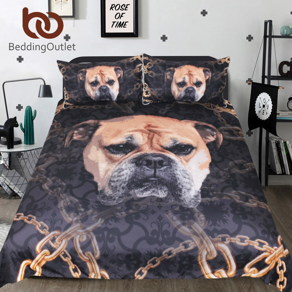 Dropshipful Bulldog Bedding Set for Kids 3D Printed Duvet Cover With Pillowcase Dog Bed Set Animal Printed Bedclothes 3-Piece - Dropshipful.com