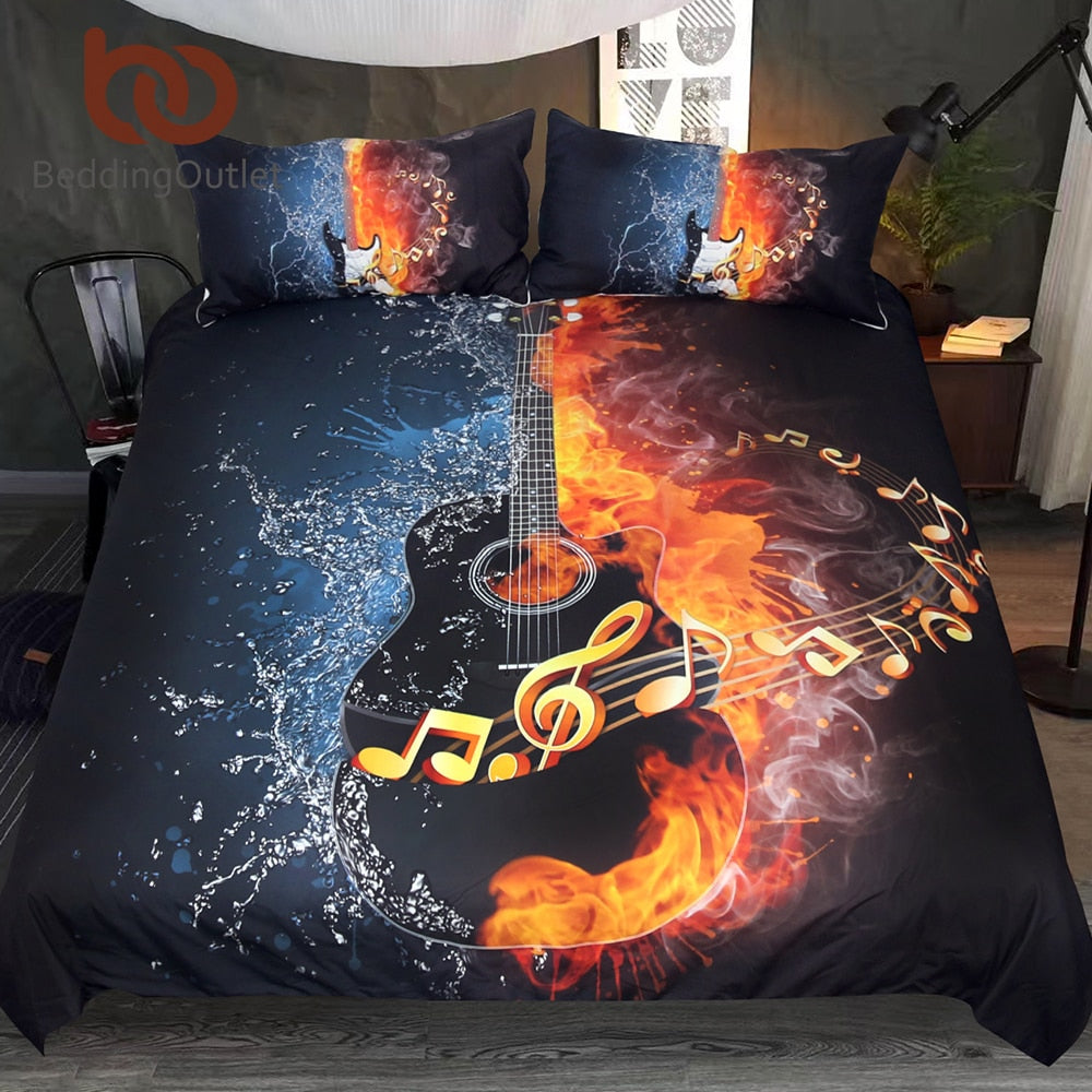 Dropshipful Fire And Water Guitar Bedding Set 3D Printed Duvet Cover Set Music Youth Bedclothes 3-Piece Vivid Bed Cover Queen - Dropshipful.com