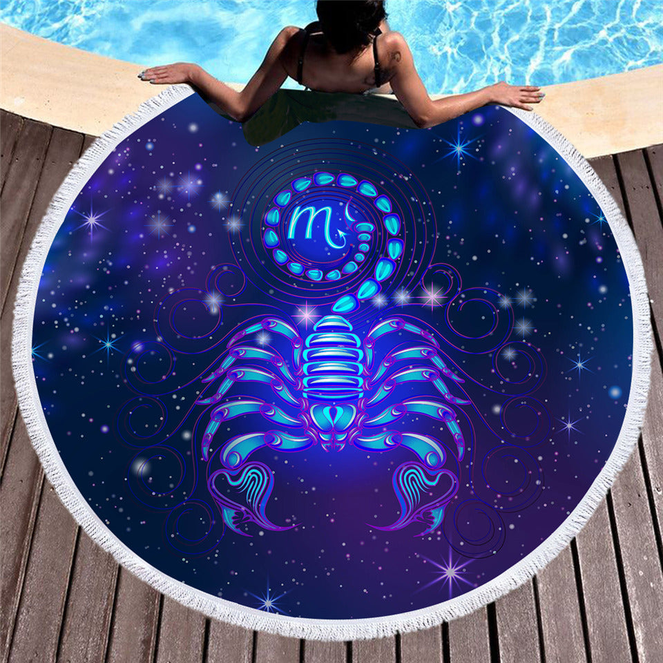 Scorpio Large Round Beach Towel Galaxy Printed Microfiber Summer Towel 150cm - Dropshipful.com