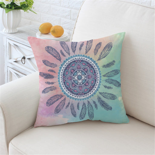 Mandala Cushion Cover Floral Home Pillow Case Pink and Blue Throw Cover Bohemian Girls - Dropshipful.com