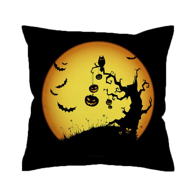 Dropshipful Pumpkin Cushion Cover Black Halloween Pillowcase No Fading Decorative Pillow Cover Soft Microfiber 45x45cm 70x70cm - Dropshipful.com