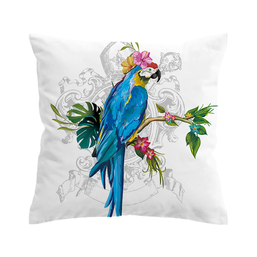 Animal Macaw Art Cushion Cover Floral Pillow Case Bird Morning Glories Throw Cover - Dropshipful.com