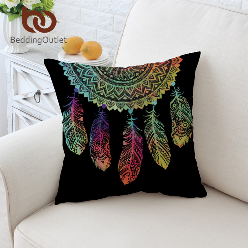 Dropshipful Dreamcatcher Cushion Cover Colorful Feathers Pillow Case Bohemian Mandala Throw Cover 2 Sizes Black Pillow Covers - Dropshipful.com